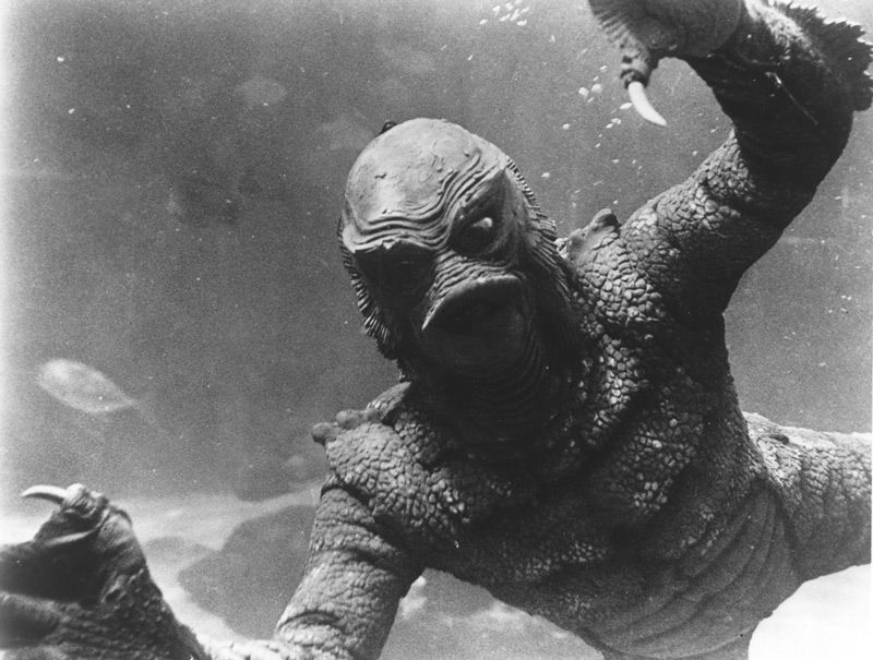 Revenge of the Creature, 1955, Universal-International.  The Gill Man (Ricou Browning) in the aquarium at Ocean Harbor Park, Florida. Click to enlarge.