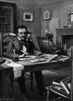 Small kitty hangs out with Poe. (Image from Surrealist Cat. Arist:Sheldon)