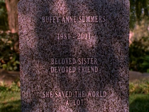 Buffy the Vampire Slayer, The Gift, headstone