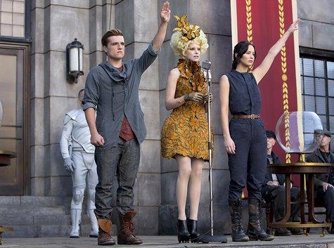 Catching Fire, Katniss and Peeta, Jennifer Lawrence, Josh Hutcherson, Effie Trinket