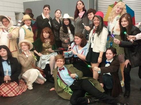 Genderbending cosplay. Look at those lady Doctors (and one lady Jack)!
