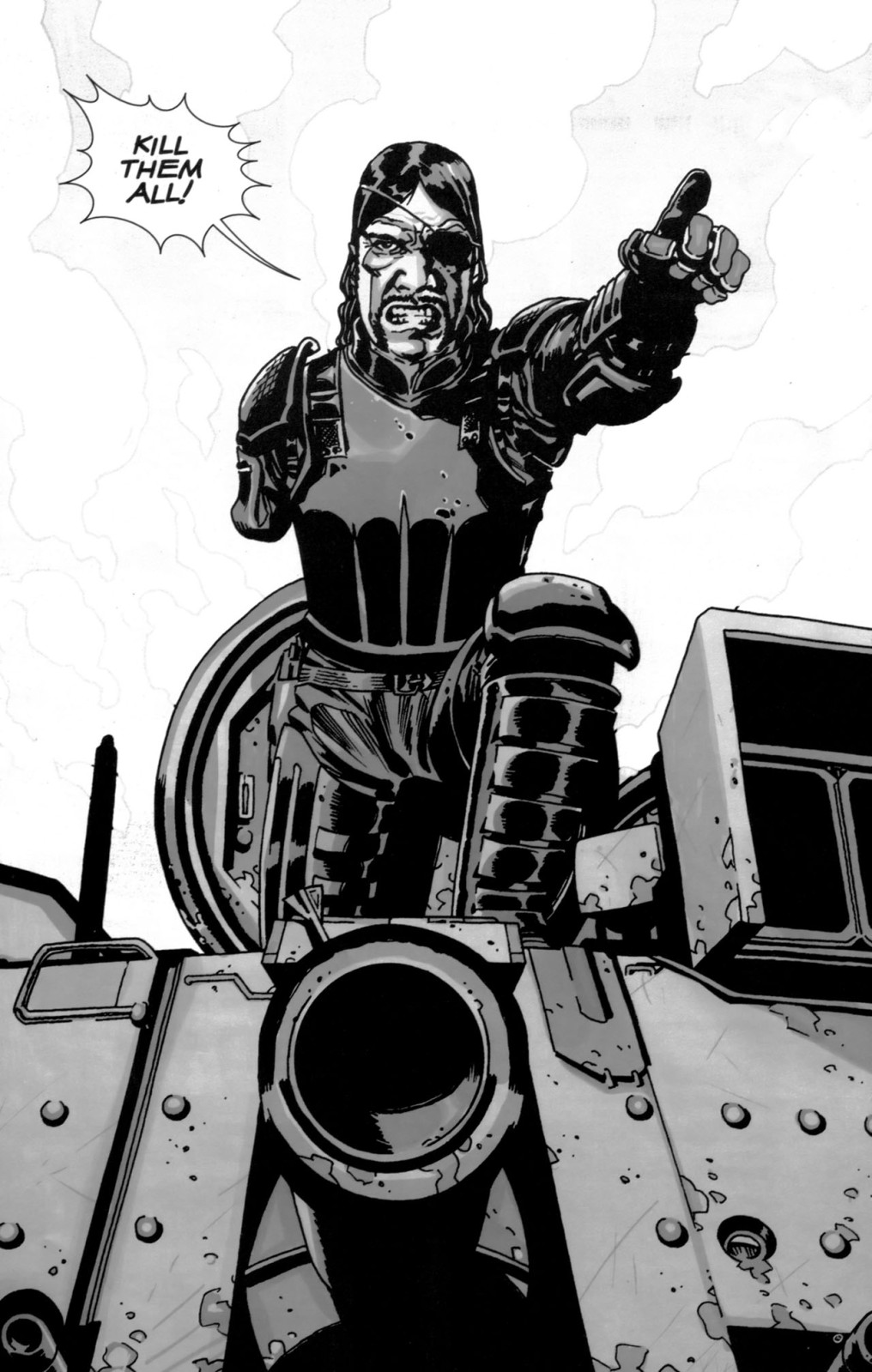 The Governor, aka Philip Blake, aka Brian Blake, from this obscure little black & white zombie comic book you probably haven't heard of called THE WALKING DEAD written by some dude named Robert Kirkman with art by Charlie Adlard.