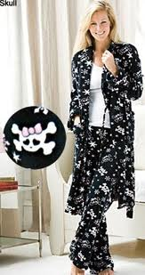 Skulls robe and pant pajama set