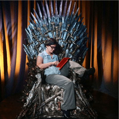 Just hanging out on the Iron Throne with my iPad. As you do.
