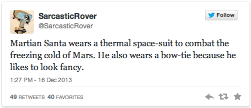 Martian Santa tweets from Sarcastic Rover