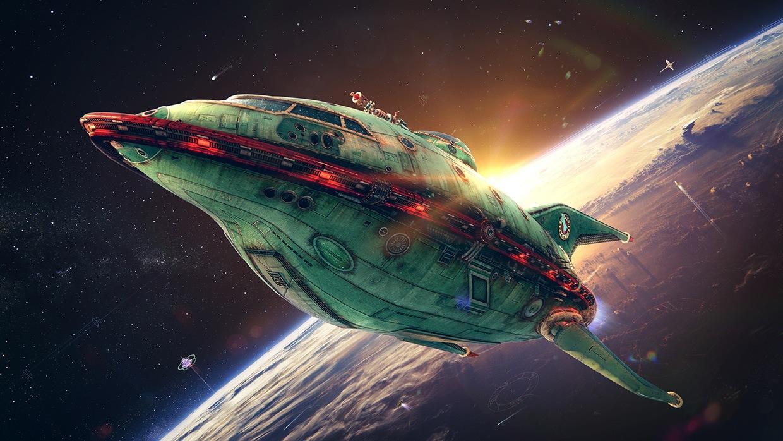 Futurama 3D video concept art Alexey Rakharov Planet Express ship