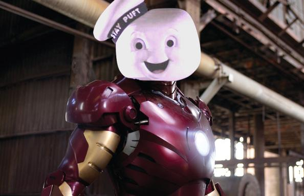 #AddAPuftRuinAMovie Stay Puft Marshmallow Man Ghostbusters Iron Man
