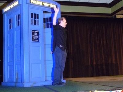 Peter Davison's triumphant entrance - Photo by Robin Burks