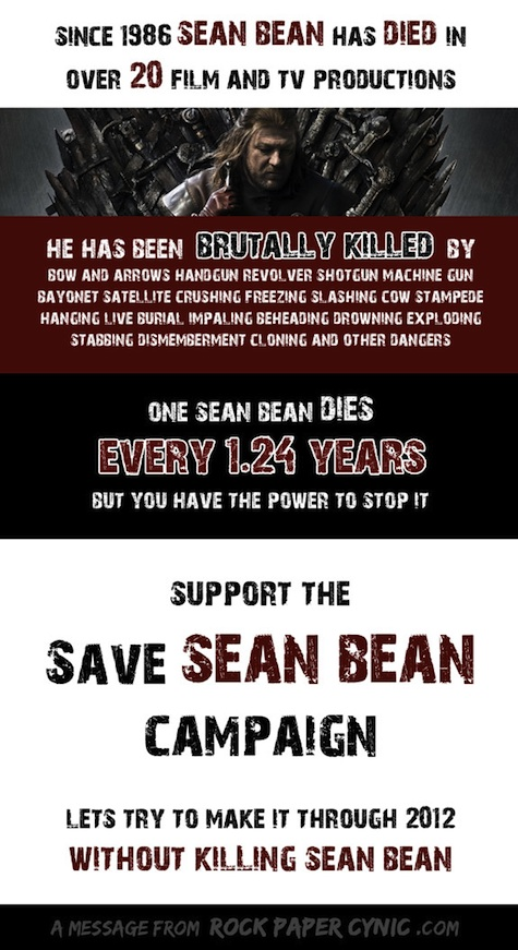 Save Sean Bean campaign by Rock Paper Cynic