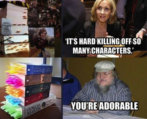 best Harry Potter memes July 31 Harry birthday J.K. Rowling George R.R. Martin you're cute Game of Thrones kill characters