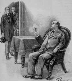 Mycroft Holmes can't be bothered to get up. By Sidney Paget.