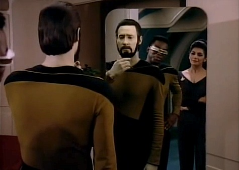Star TrekL The Next Generation, Data, Geordi, Troi, beard