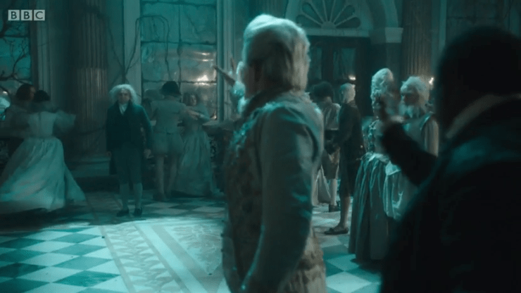 [Image: the gentleman raising his hand against Mr Norrell, and Stephen stepping toward the gentleman to stop him]