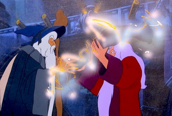 Gandalf and Saruman in Ralph Bakshi's animated Lord of the Rings, 1978