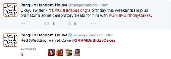 George R.R. Martin Birthday Cake on Twitter