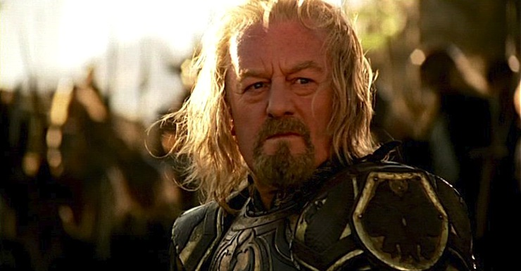 Theoden staring resolutely into the distance