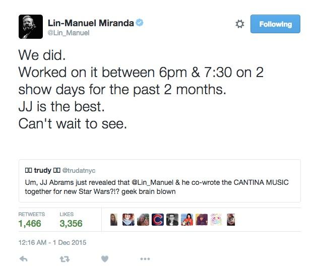 Lin-Manuel Miranda Cantina music Star Wars: The Force Awakens
