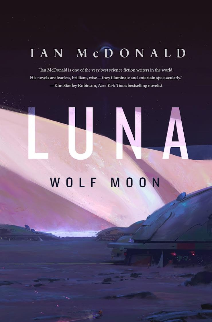 Luna: Wolf Moon cover reveal Ian McDonald duology Luna: New Moon sequel