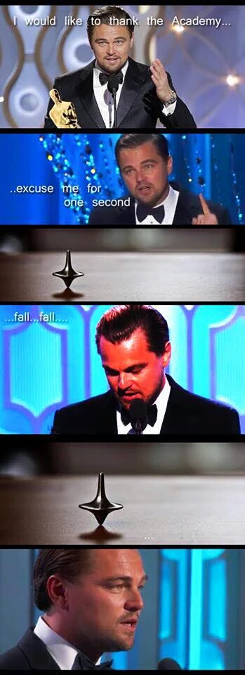 Leonardo DiCaprio Oscar win Inception meme