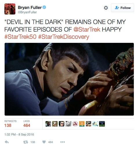 Bryan Fuller, Star Trek tweet
