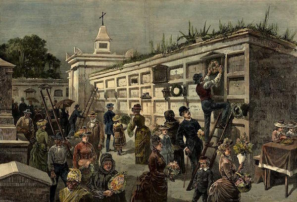 All Saints Day in New Orleans -- Decorating the Tombs in One of the City Cemeteries, an 1885 engraving