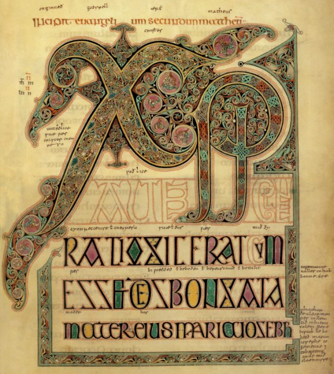 Chi-Rho page of the Lindisfarne Gospels.