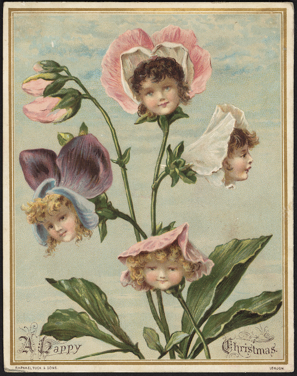 Girl Flowers Christmas Card