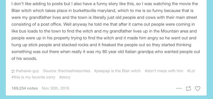 Blair Witch Project story, Tumblr
