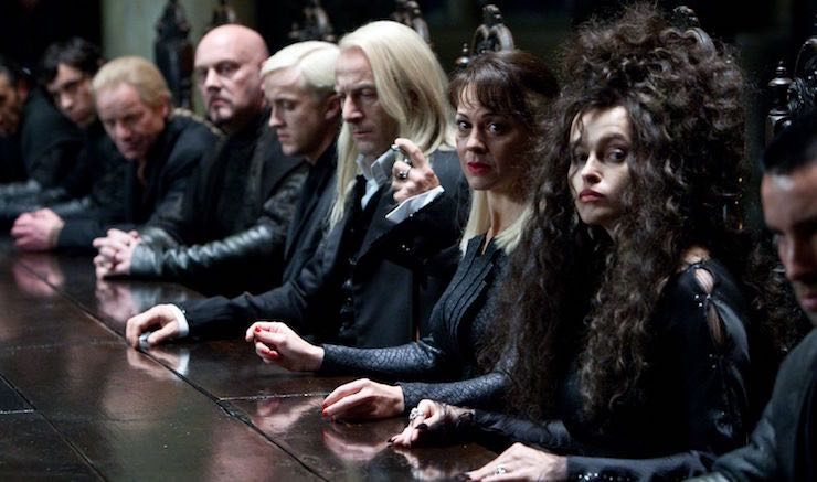 Draco, Lucius, Narcissa Malfoy, Bellatrix Lestrange, Harry Potter and the Deathly Hallows