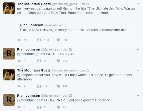 Rian Johnson and John Darnielle on Twitter
