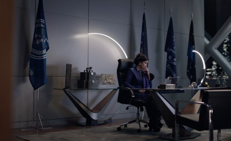 The Expanse—Avasarala in her office