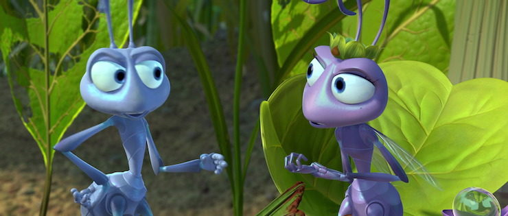 Flik (voiced by Davey Foley) and Princess Atta (voiced by Julia Louis-Dreyfus) in Pixar's A Bug's Life