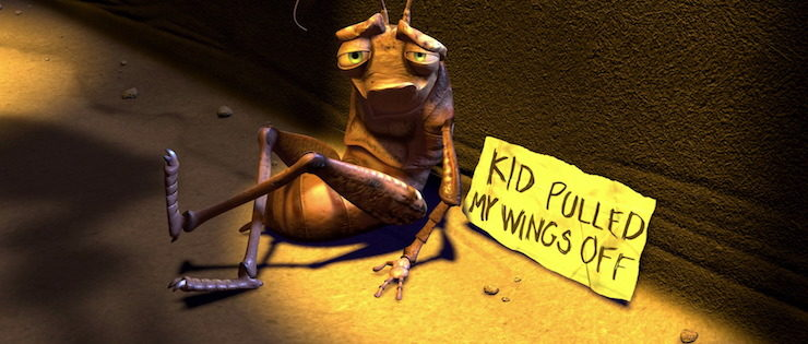 Injured insect character in Pixar's A Bug's Life