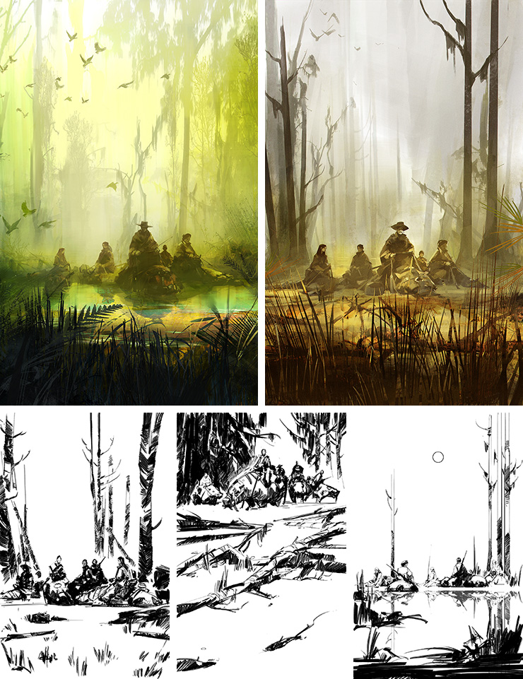 Richard Anderson's sketches for River of Teeth by Sarah Gailey