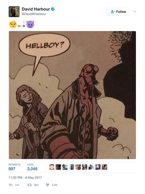 David Harbour Stranger Things Hellboy tweet