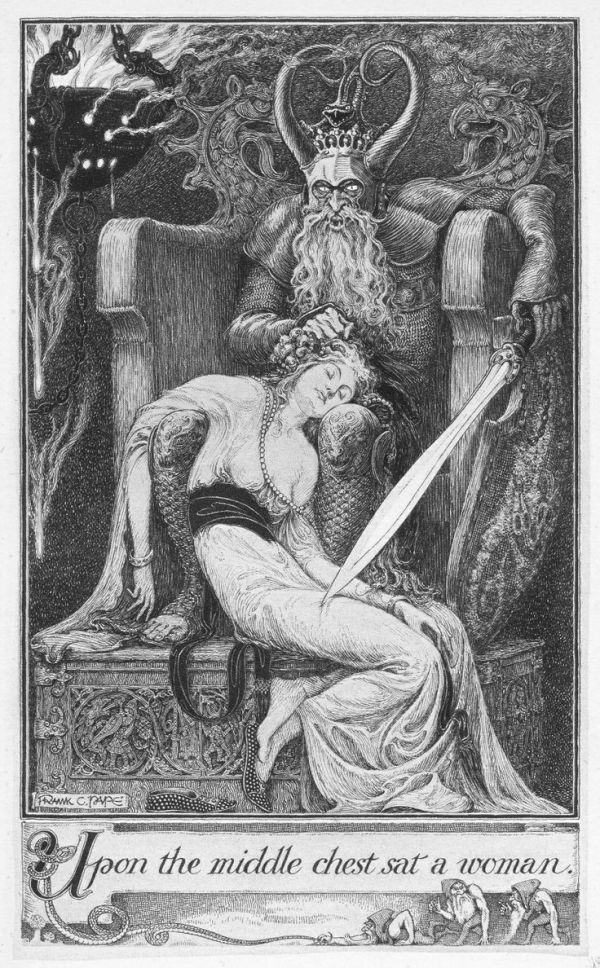 Black and white drawing of throned man with sleeping woman on his knee