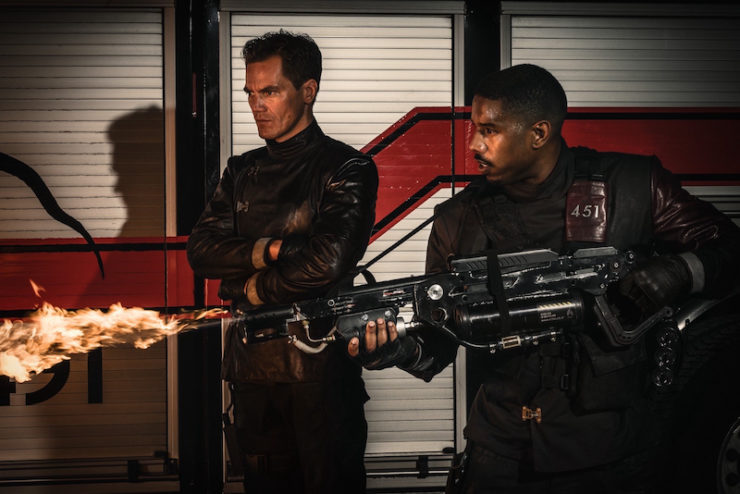 Fahrenheit 451 HBO movie adaptation first look Ray Bradbury Michael B. Jordan Guy Montag