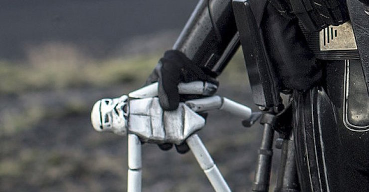 Close-up of Stormtrooper doll seen in Rogue One: A Star Wars Story