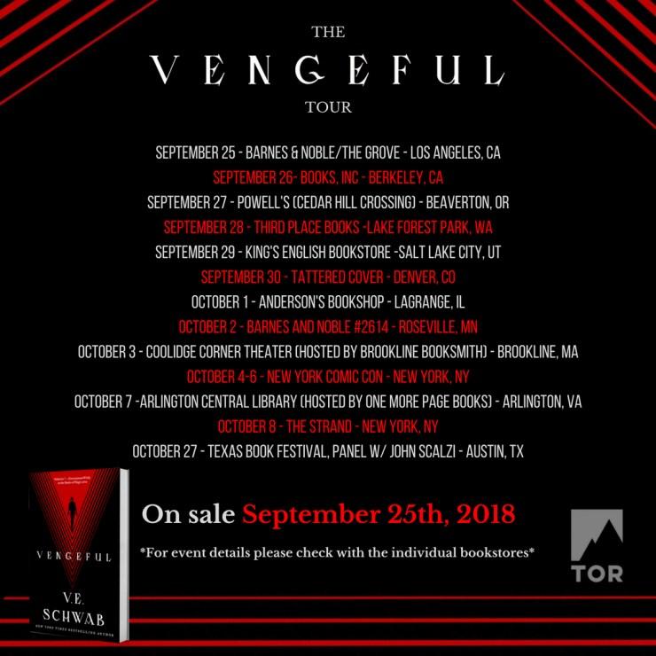 V.E. Schwab Vengeful tour
