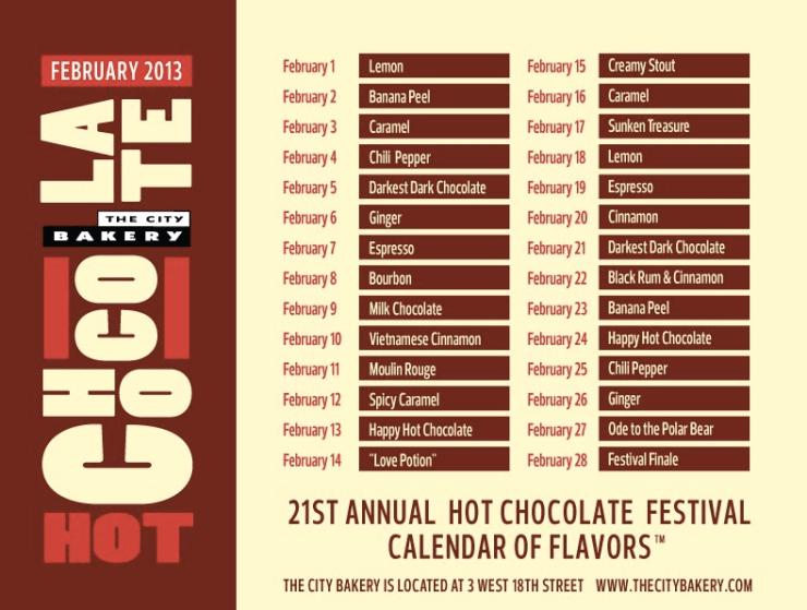 City Bakery Hot Chocolate Festival menu