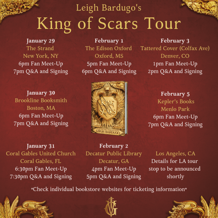 Leigh Bardugo King of Scars book tour author tour dates venues