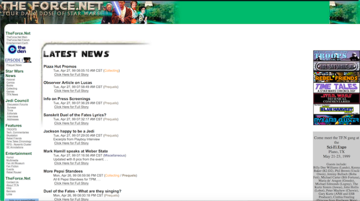 Screencap of TheForce.net from April 1999