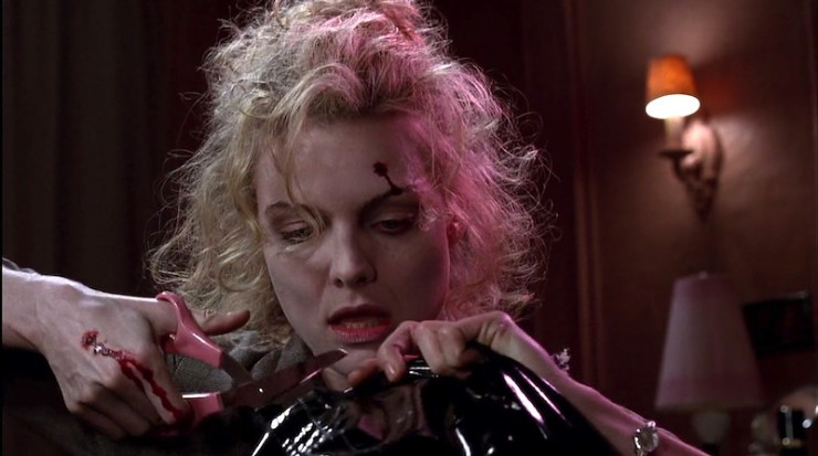 Michelle Pfeiffer makes Catwoman suit in Batman Returns