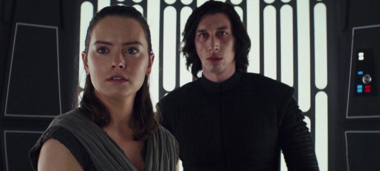 Star Wars The Last Jedi Rey and Kylo in the elevator