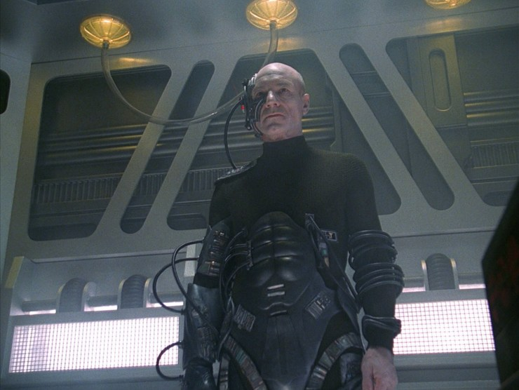 Picard (Patrick Stewart) assimilated by the Borg in Star Trek: The Next Generation