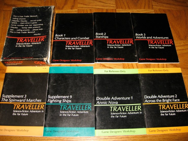Box, game rules and supplemental books for the role playing game Traveller.
