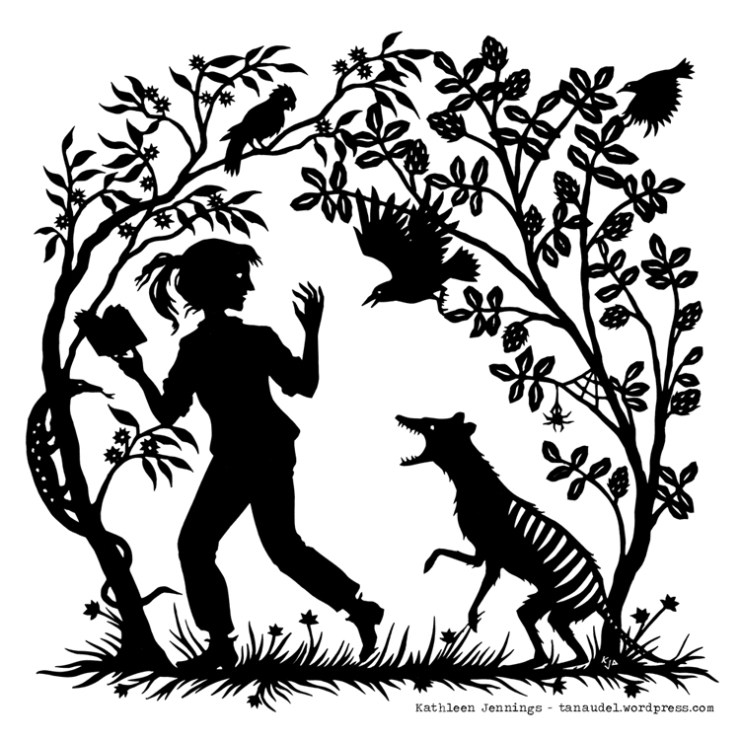 """Into the Woods"" silhouette-style print by Kathleen Jennings"