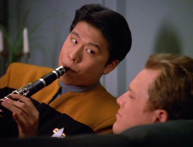 Harry Kim playing the clarinet in Star Trek: Voyager