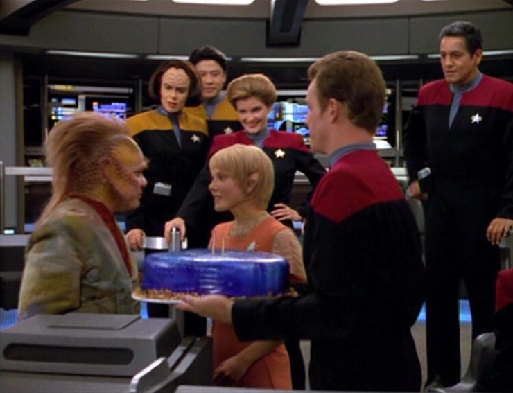 The Voyager crew celebrate Kes' birthday