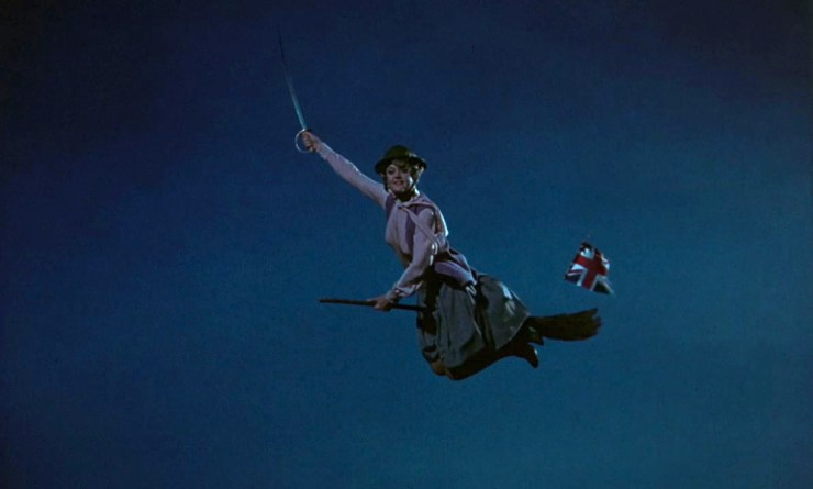Bedknobs and Broomsticks, Ms Price on broomstick with sword
